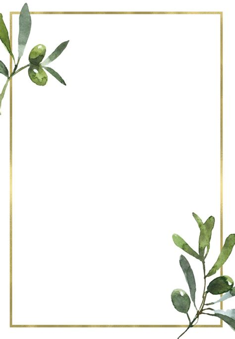 golden frame olive leaves wedding invitation template