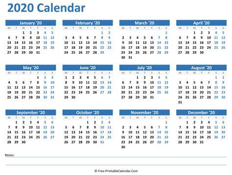 yearly calendar notes horizontal layout