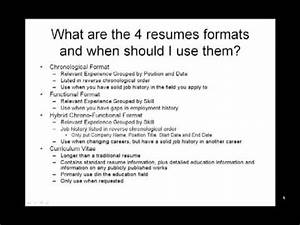 Need To Do A Resumes How To Make A Resume What Are The 4 Resumes Formats And
