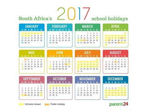 printable  school holidays  south africa calendar