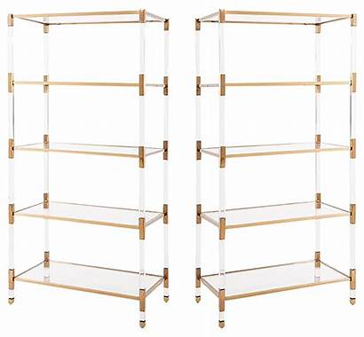 Gold Shelves Lucite Acrylic Glass Etagere Bookcases