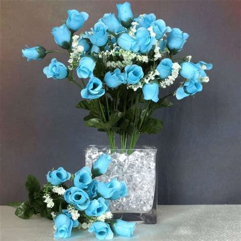 mini rose buds turquoise pk silk flowers factory