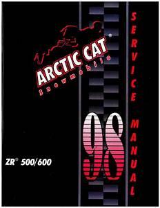1998 Arctic Cat Zr 500 600 Snowmobile Service Manual