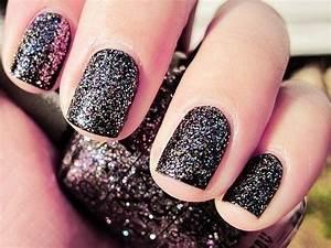 Black design glitter nail art polish image