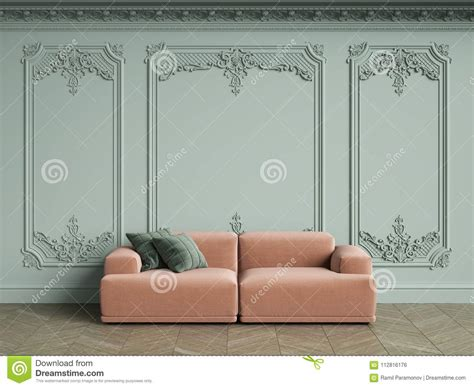 Pale Pink Sofa by Pink Sofa With Green Pillows In Classic Vintage Interior