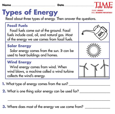 types of energy worksheet worksheets for all