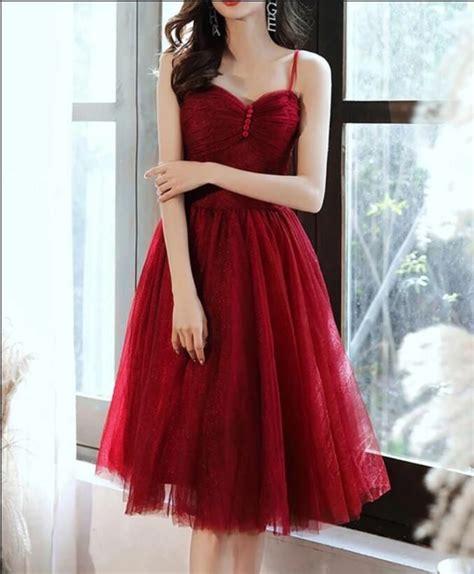 Elegant Wine Red Tulle Short Knee Length Prom Dress ...