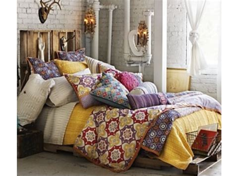 bohemian bedroom love  bed frame decor