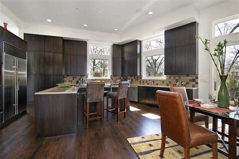 Dark Kitchen Ideas - pleasant hardwood floors with dark kitchen cabinets hardwoods design
