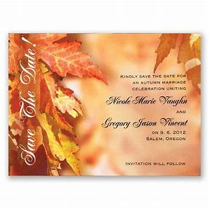 leaves background save the date invitations by dawn With fall wedding invitations and save the dates