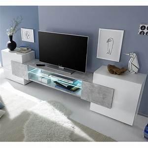 Meuble De Tele Design : meuble t l design blanc laqu brillant et b ton sofamobili ~ Teatrodelosmanantiales.com Idées de Décoration