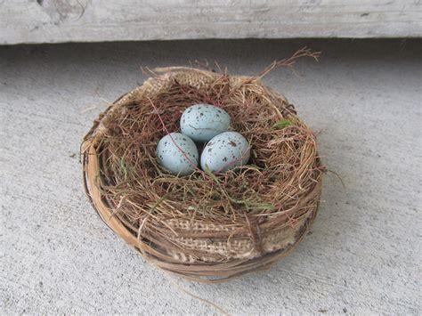 Primitive Shabby Chic Spring Bird Nest With Three Blue Eggs