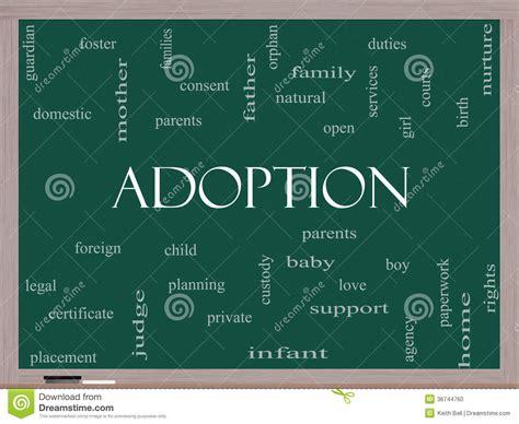 Adoption Word Cloud Concept On A Blackboard Stock Photo