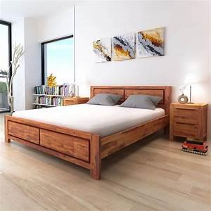 Lit En 180 : la boutique en ligne vidaxl cadre de lit bois d 39 acacia massif marron 180 x 200 cm ~ Teatrodelosmanantiales.com Idées de Décoration