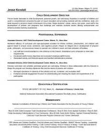 child care resume template child care director resume sle
