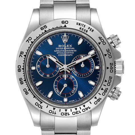 Rolex Cosmograph Daytona White Gold Blue Dial Mens Watch ...