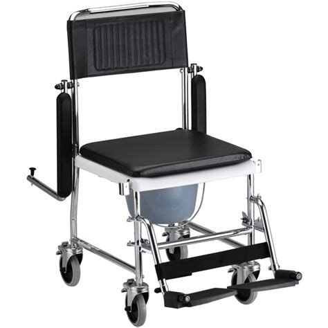 drop arm commode transport chair with wheels shower