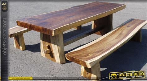 Table Et Bancs Rustiques En Teck Massif