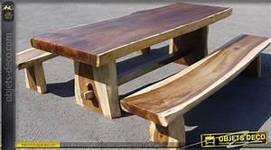 Table Bois Massif Brut : table et bancs rustiques en teck massif ~ Teatrodelosmanantiales.com Idées de Décoration