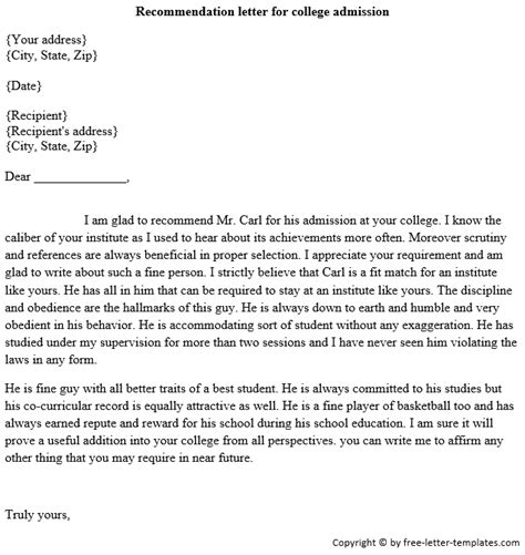 sample recommendation letter  college   write