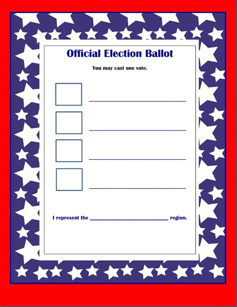 Voting Ballot Template Free