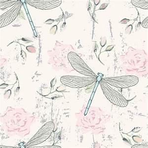 papier peint grungy seamless floral avec des libellules With affiche chambre bébé avec livraison fleurs limoges 87