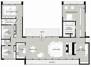 Plan Maison U : plan maison u plan de maison moderne en u ~ Dallasstarsshop.com Idées de Décoration