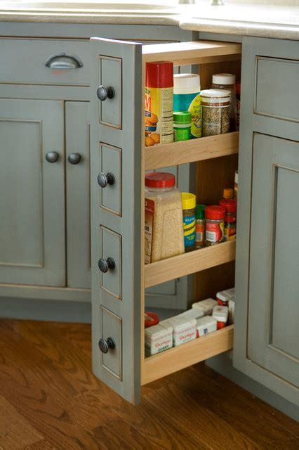 Narrow Pull Out Spice Rack by Pantry Spice Cabinet Traditional Kitchen Boston By