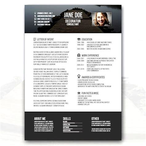 consultant creative resume template free sles