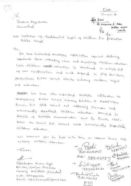 Letter to DM on Violation of Fundamental Right 110418