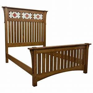 amish mission art glass bed bfbhb7632bq1 With barnfurnituremart