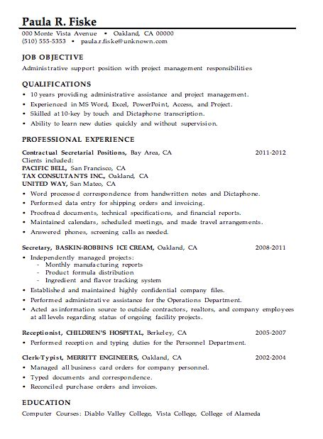 project management skills resume samples resume sample administrative support project management
