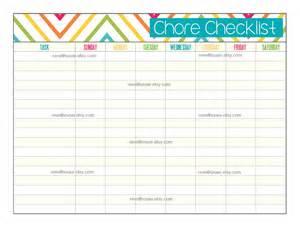 Kids Chores List Checklist Printable