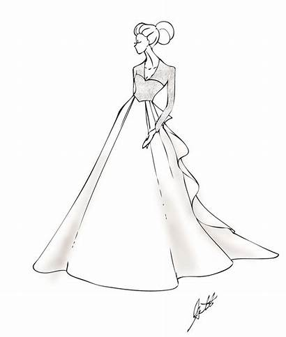 Coloring Pages Dresses Ball Gowns Drawing Easy