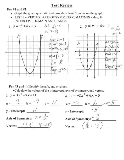 Algebra 1 Quadratic Test Review Answer Key Rademaker