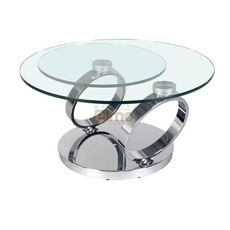 table ronde de cuisine table basse ronde pied acier design verre plateau