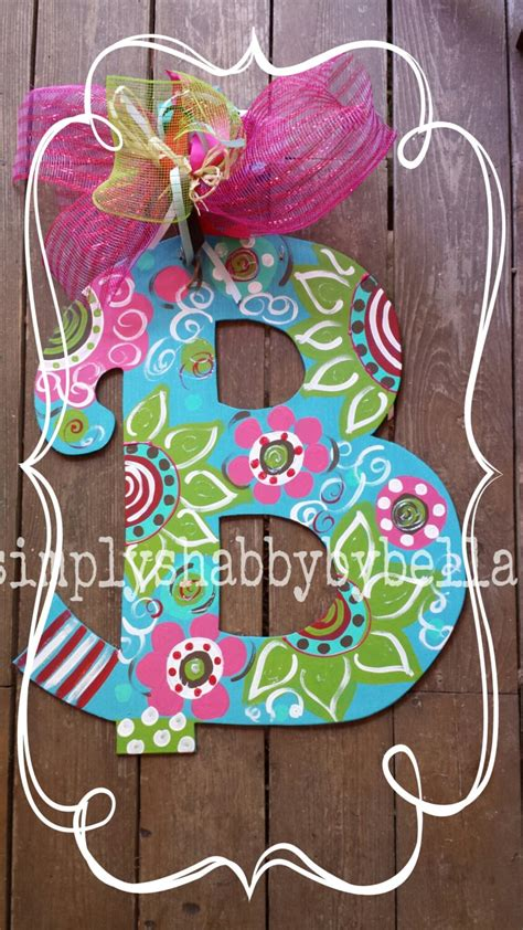 personalized colorful wood letter initial door hanger