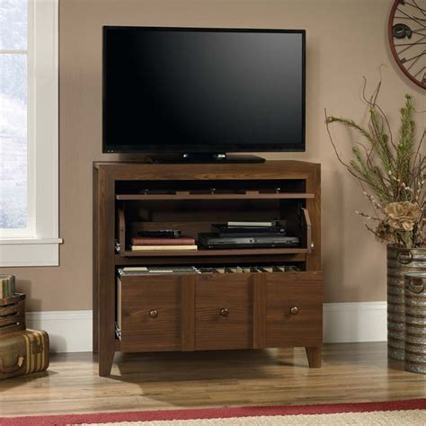 Sauder Dakota Pass 2 Drawer File Cabinet TV Stand in Rum