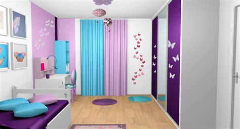 peinture chambre bleu turquoise chambre fille violet mauve turquoise papillons bandes