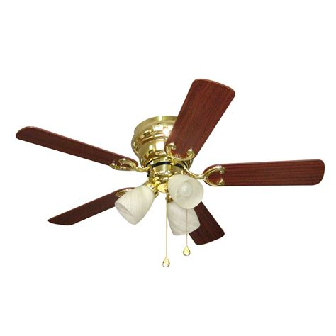 42 flush mount ceiling fan shop harbor breeze cheshire ii 42 in polished brass flush