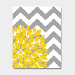 Yellow And Gray Chevron Bathroom Decor by Items Similar To Flower Bursts Botanical Print 11 Quot X 14
