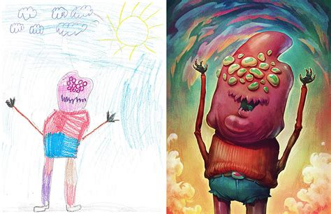 100+ Artists Redraw Kids' Doodles Of Scary Monsters In