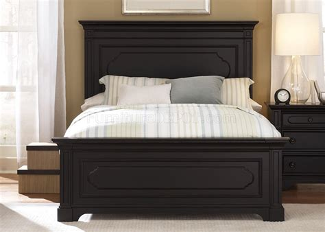 black rubbed finish transitional panel bed woptional case