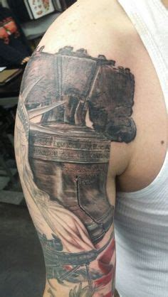 realistic black  gray liberty bell bullseye tattoo