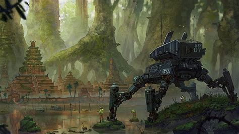 forest siege trees ruins robots futuristic forest rocks peru