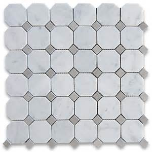 carrara white 2 inch octagon mosaic tile w gray dots honed marble from italy mosaics