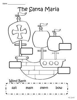 Christopher Columbus Boat Jesus by Label The Santa Maria Columbus Day Activity Santa