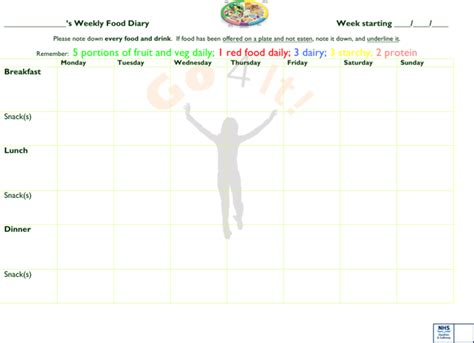 Download Weekly Food Diary Template Microsoft Word For