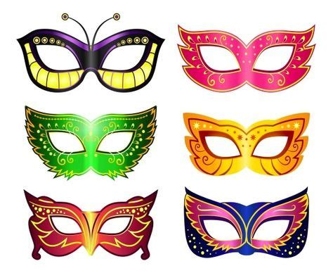 collection  cartoon carnival masks decorated