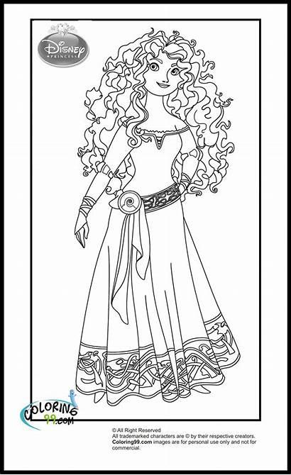 Coloring Disney Princess Pages Brave Merida Princesses